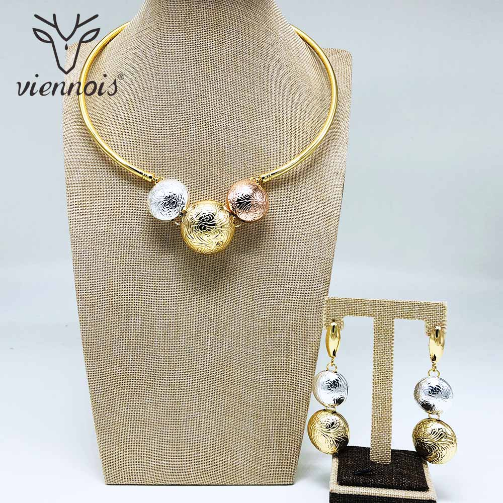 Viennois Fashion Gold Color Dangle Earrings Mix Color Necklace <font><b>Jewelry</b></font> <font><b>Set</b></font> <font><b>For</b></font> Women Metal Party <font><b>Jewelry</b></font> <font><b>Set</b></font> <font><b>2019</b></font> image