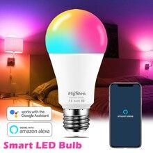 100W eşdeğer E27 akıllı LED ampul renk değiştirme lambası WiFi ses kontrolü RGBW ışık uyumlu Alexa ve Google asistan