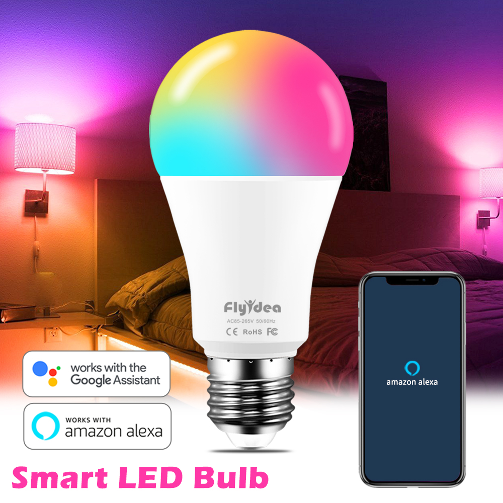 100W Equivalent E27 Smart LED Bulb Color Changing Lamp WiFi Voice Control RGBW Light Compatible Alexa And Google Assistant