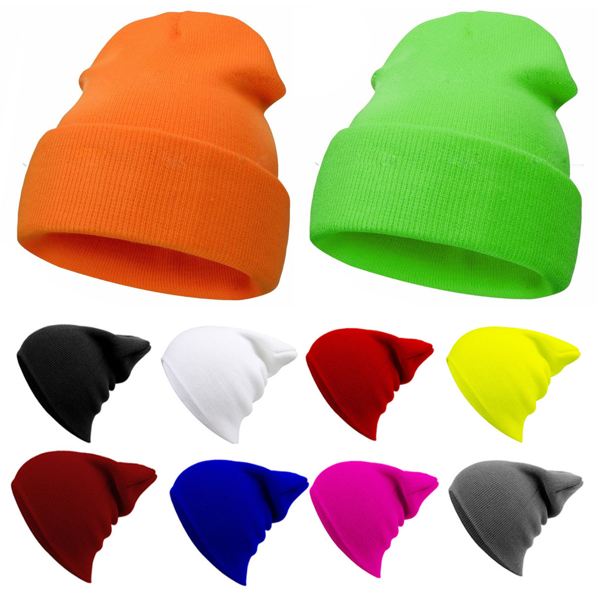 Unisex Beanie Plain Knitted Hat Autumn Winter Warm Ski Cuff Cap Wool Blends Soft Slouchy Skull Caps Beanies For Men Women Hats