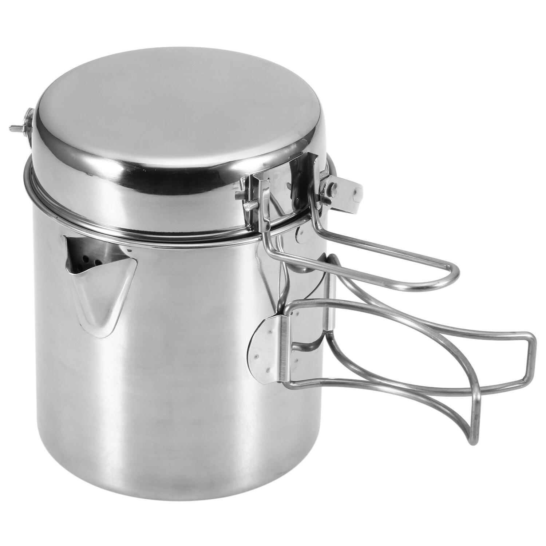 1L Edelstahl Kochen Wasserkocher Tragbare Outdoor Camping Rucksack Topf mit Faltbare Griff