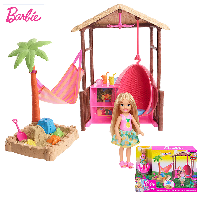 Original Chelsea Club Barbie Doll Beach House Toys For Children Playset With Clothes Dolls Accessories Toy For Girls Brinquedos
