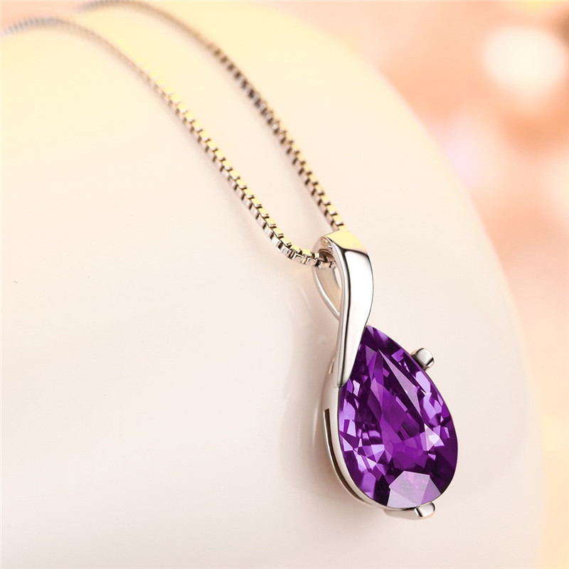 New Fashion Silver 925 Girls Choker Necklace Jewelry Female Fashion Crystal Red Water Drop Necklace For Women Accessories Gift
