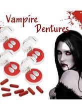 Halloween Vampire Teeth Set Blood Capsule Denture Kit Make-up Costume Bloody Scary Props Party Favors