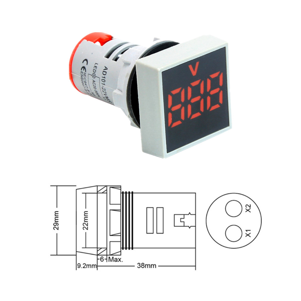 22MM AC 12-500V Voltmeter Square Panel LED Digital Voltage Meter Indicator Light Red Digital