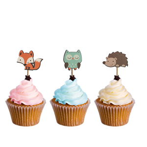 Image 5 - 24pcs Woodland Creatures Cake Toppers Jungle Forest Animal Cupcake Toppers for Kids Birthday Party Decorations Dessert supplies