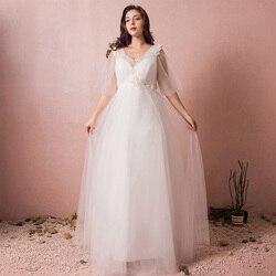 A-Line Beach Wedding Dresses Mesh Lace V Neck Court Train Straps with 2020 Formal Princess Handmade Custom Bridal Dresses