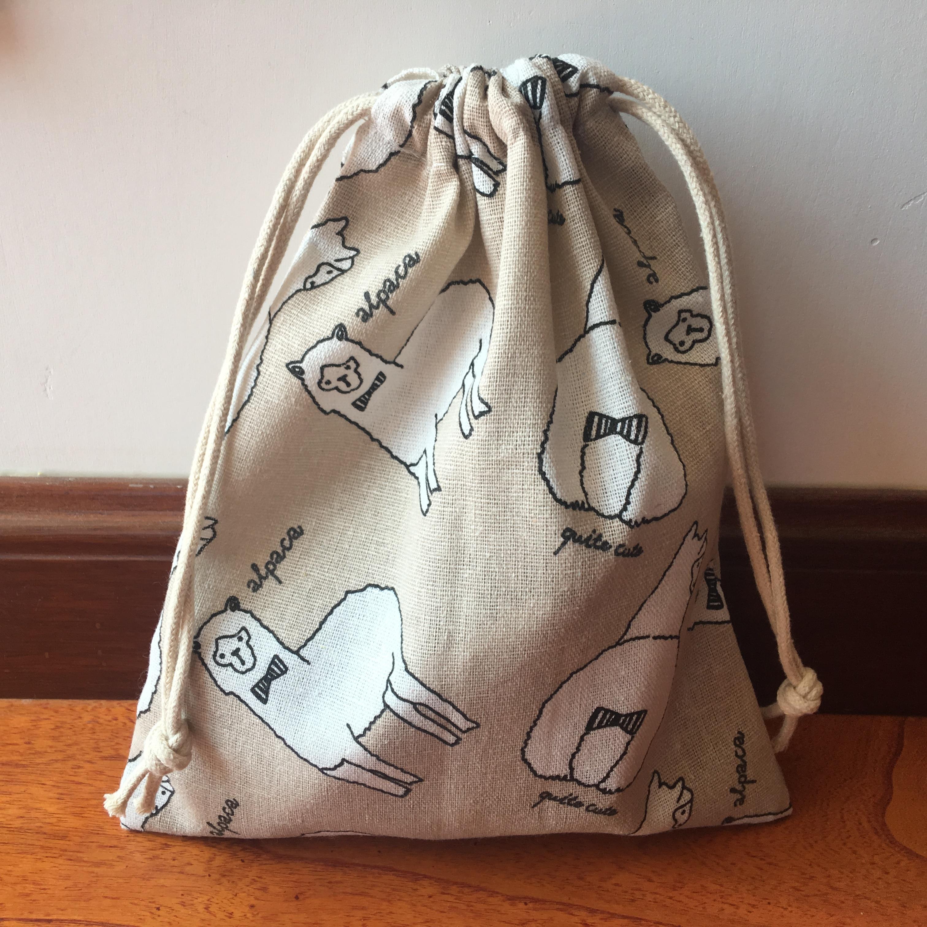 1pc Cotton Linen Drawstring Multi-purpose Pouch Party Gift Bag Cute Alpaca Khaki Base YI