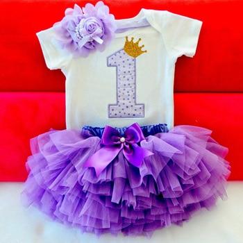Little Girls Summer Dress Cute Newborn Baby Girl Clothes 1st Birthday Baby Bodysuit Romper+Ruffles Tutu Skirt +Headband Outfits 1