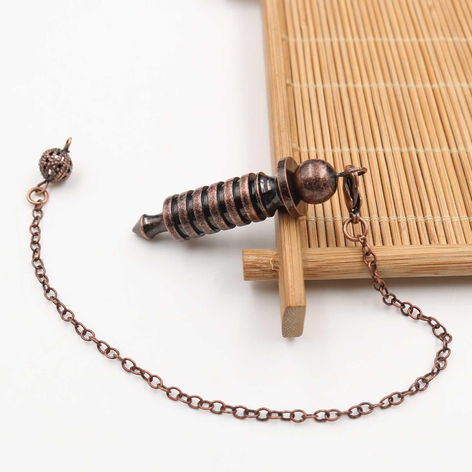 Metal Pendulums for Dowsing Divination Reiki Healing Spiritual Wicca Women Men Amulet Screw Shape Pendule Chains Charm Jewelry 8