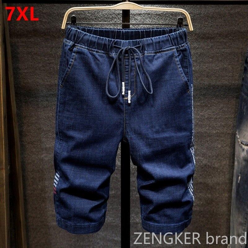 Summer Thin Stretch Denim Shorts Men Loose Plus Size 7XL 6XL 5XL 4XL Elastic Waist  Harlan Shorts Tide