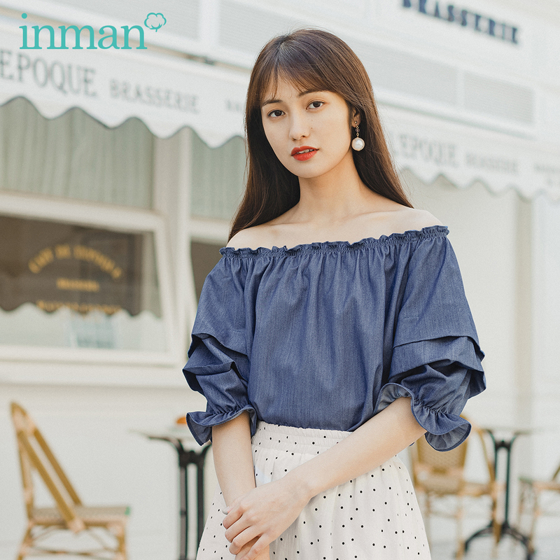 INMAN 2020 Summer New Arrival Sweet Elegant Tops Half Sleeve Slash Collar Lantern Sleeve Women Blouse