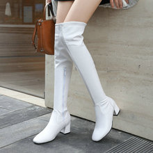 2020 Women Over the Knee Boots Fashion Zipper Round Toe Women Long Boots Comfortable Square Heel Women Stretch Boots Big Size 43 siemo fashion women round toe low heel over the knee boots casual winter ladies dress shoes us size 4 17 big size customizable