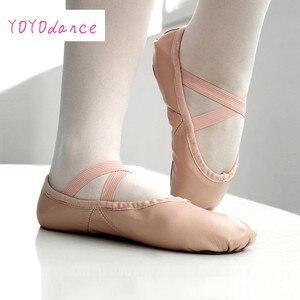 Image 2 - Gloednieuwe Lederen Ballet Dans Schoenen Professionele Zachte Vrouwen Split Zool Roze Zwart Groothandel