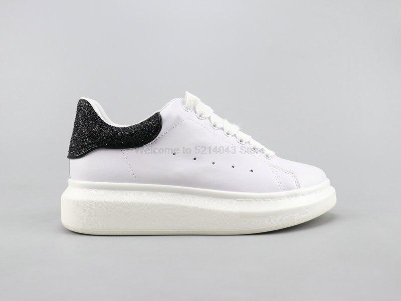 Alexander McQueen Alexander McQueen 3M riflettente gli uomini e le donne con la suola spessa scarpe bianche scarpe casual formato 35-44 nero paillettes 2