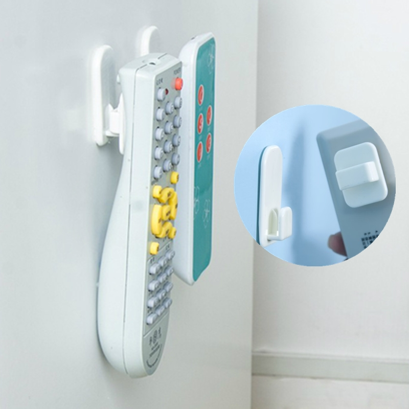 4Pcs/Set Plastic Hooks Sticky Hook Set Air Conditioner TV Remote Control Key Practical Wall Storage Strong Hanger Holder(China)