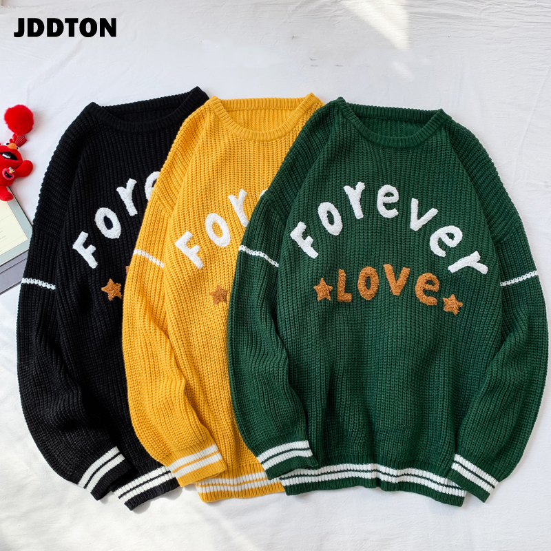 JDDTON Men's O Neck Sweater Casual Loog Sleeve Clothing Sweater Loose Coat Streetwear Jumper Pullover Male Fashion Clothes JE376