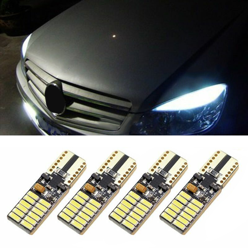 4pcs Replacement T10/w5w 24x4014 LED White Lights Error Free DC 12-24V 5W For Mercedes Benz W204 Car Accessories
