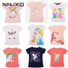 T-shirts unisexes à manches courtes et imprimé licorne pour fille et garçon, vêtement en coton, blancs, enfants, bébé, de 3 à 8 ans, été 2020