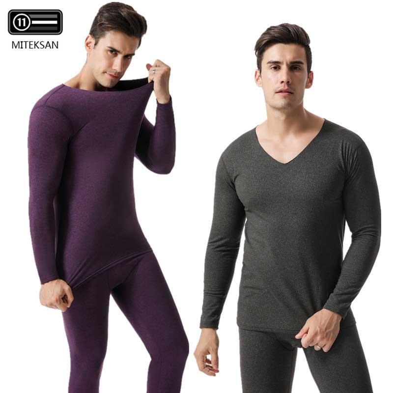 MITEKSAN Thermal Underwear Set Men Warm V-Neck Plus Velvet Long Johns Heating Male Winter Fashion Pants+Shirts 2 PieceSet New