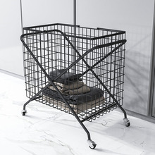 Movable Wrought Iron Toys Clothes Storage Washing Basket Multi-function Bathroom Dirty Clothes Basket Laundry Basket Grid Design