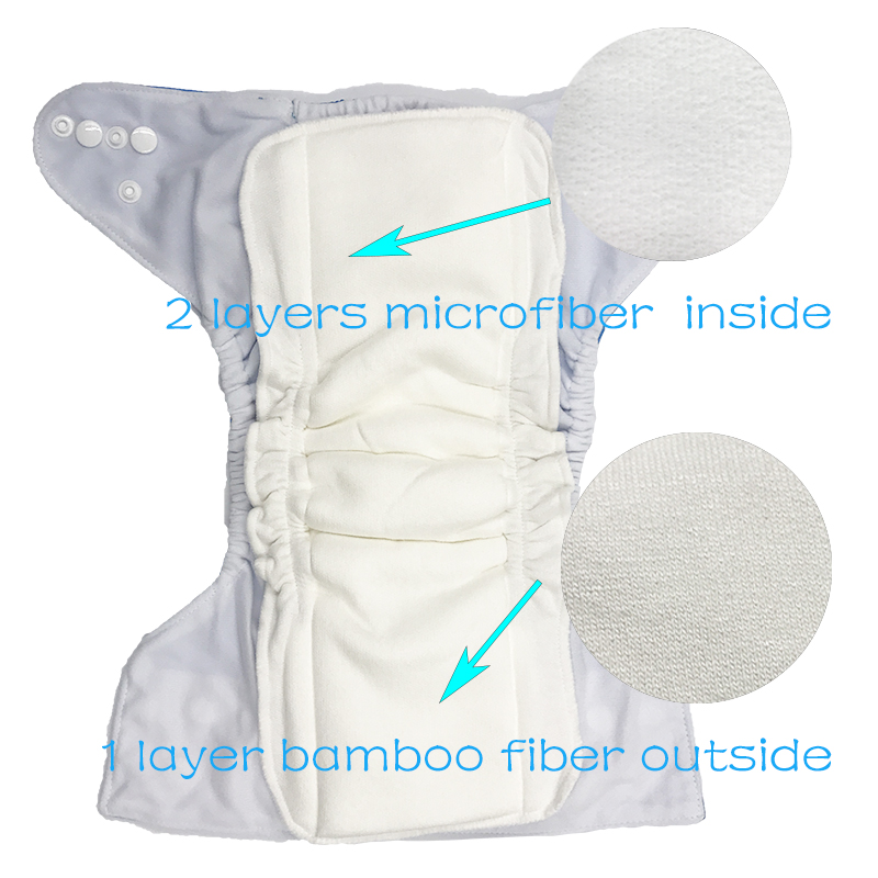 Pororo 13cm×35cm 2 layers bamboo fiber 2 layers microfiber layer Nappy Inserts Reusable Baby Diaper Insert Washable Diapers in Baby Nappies from Mother Kids