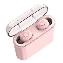 TWS słuchawki Bluetooth 5.0 bezprzewodowe słuchawki słuchawka sportowa 3D dźwięk radia douszne z przenośnym mikrofonem i etui z funkcją ładowania