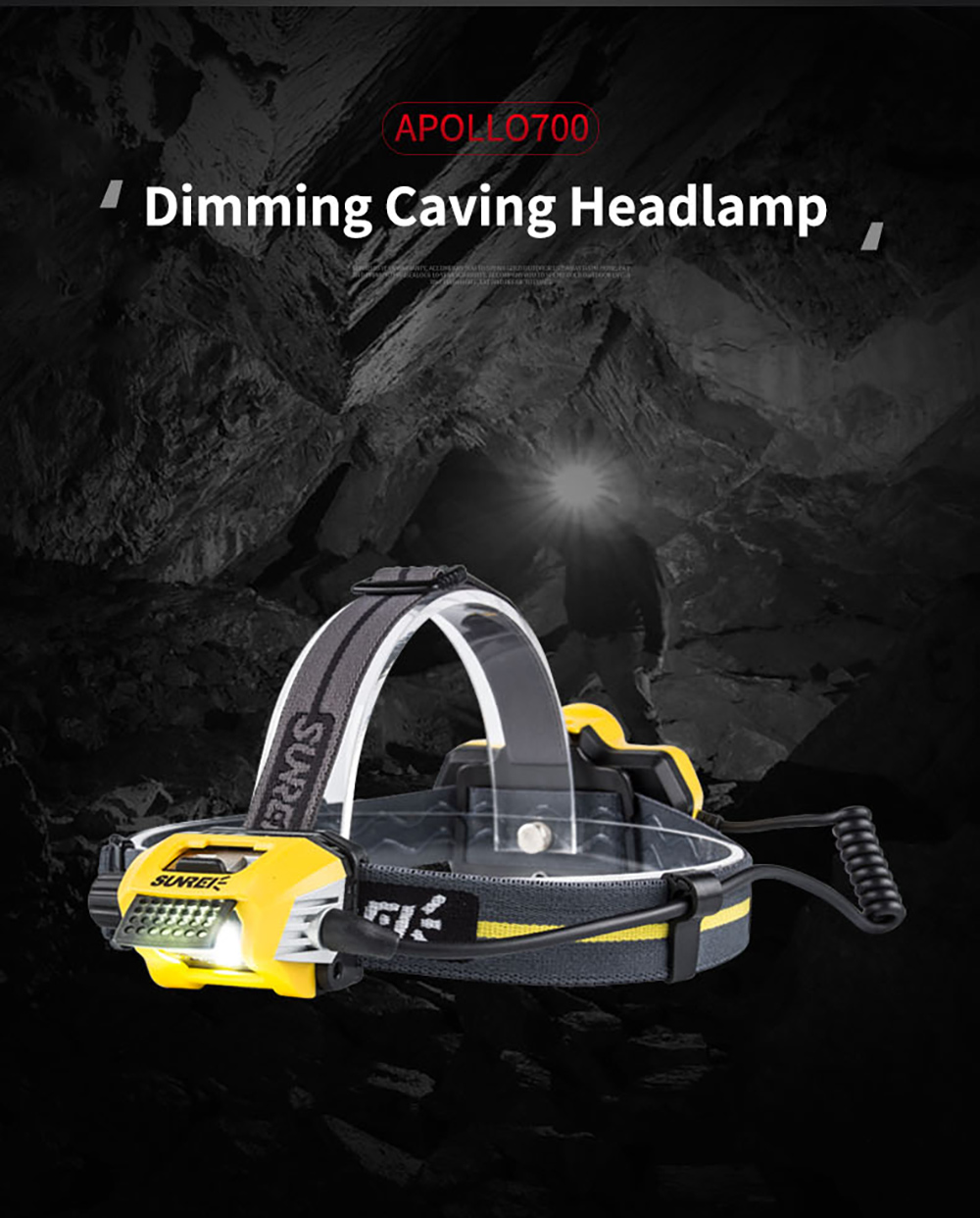 Outdoor rechargeable Headlamp: Apollo700 Caving Headlamp for Fishing/Climbing/Trakking/Hiking/Camping/venture/SOS, IPX6