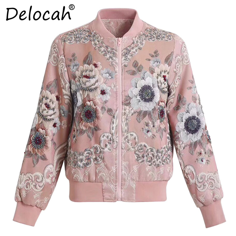 Delocah Runway Fashion Autumn Winter Jacket Women 39 s Long Sleeve Gorgeous Flower Jacquard Beading Vintage Ladies Coats Tops in Parkas from Women 39 s Clothing