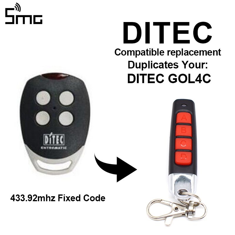DITEC GOL4C Garage Door Remote Control BENINCA Garage Door Opener For Gate Control 433.92MHz Fixed Code Remotes Clone