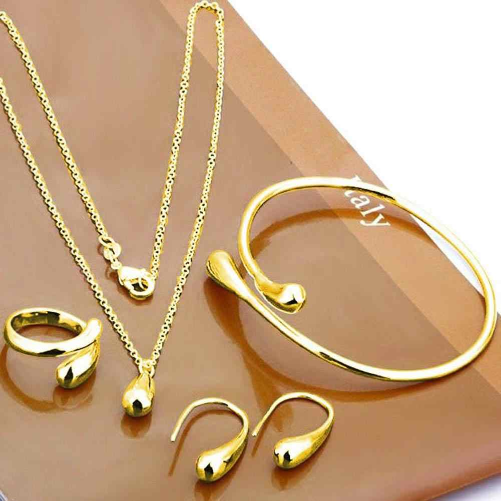 Wholesale New Wheat Charm Fashion African Turkish Women Jewelry Bride Wedding Necklace Earrings Gold Jewelry Sets Gift Box New C