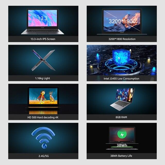 CHUWI HeroBook Pro+ 13.3 Inch IPS Screen Intel Celeron Quad Core Windows 10 OS 8GB RAM 128GB ROM Slim Laptop 2.4/5G Wifi BT5.0 3