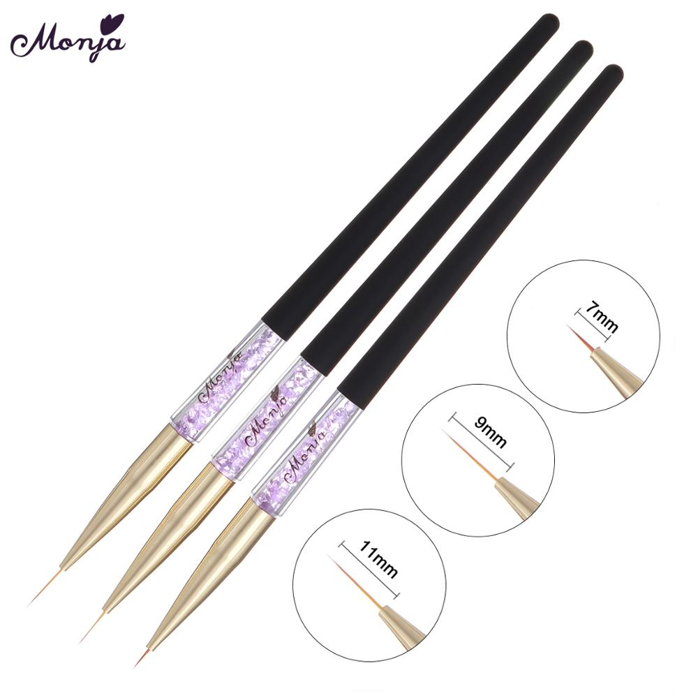 Monja 3pcs Nail Art Liner Brush Wooden Handle French Lines Stripe Flower Painting Drawing Pen Manicure Tool