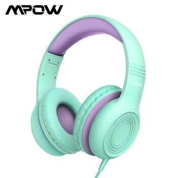 Mpow CH6 85dB auriculares de protección auditiva para niños, auriculares sobre-oreja para niños con micrófono para PC/iPad/Laptop/tabletas/teléfonos