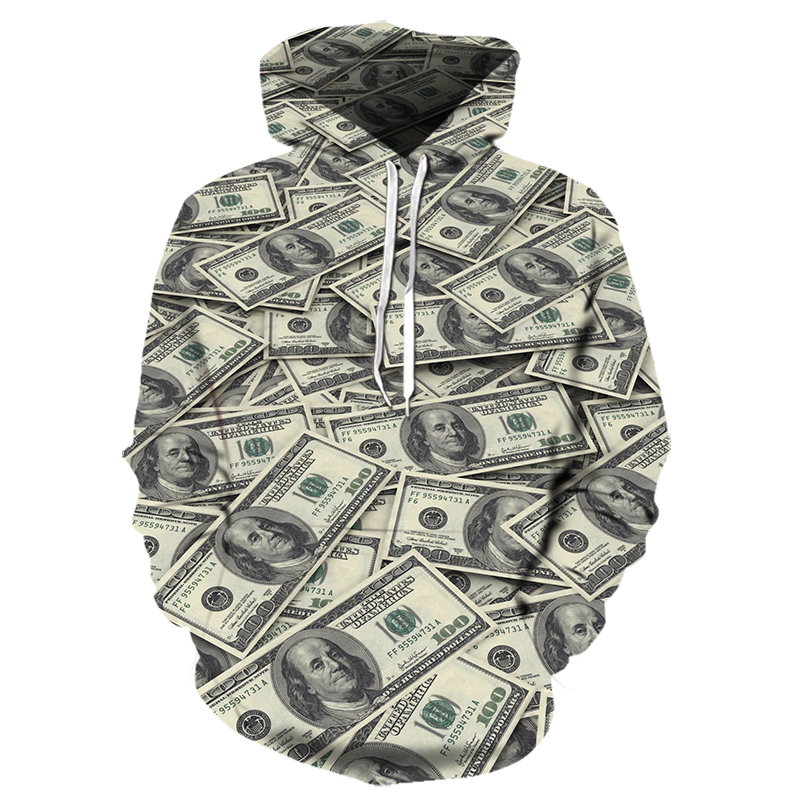 3D Printed Dollar Hoodies Men's Women's Funny Hoody Pattern An Be Hoodies Patterns Can Be Customized Causal Clothing Sportswear