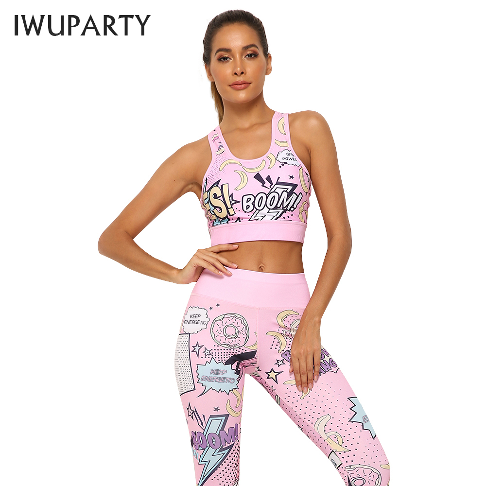IWUPARTY 2 Piece Cute Pink Printing Yoga Set Women Workout Gym Outfit Sets Sport Fitness Crop Top Leggings Running Ladies Suit