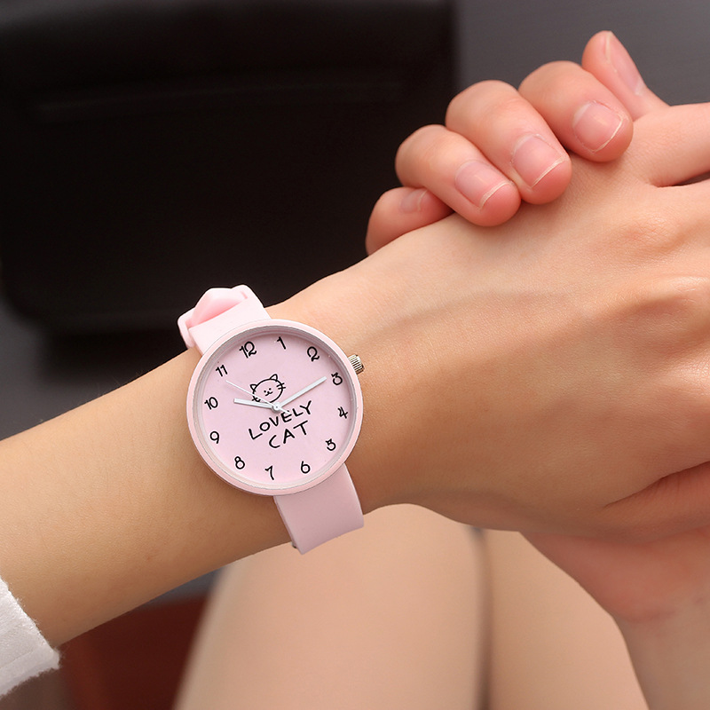 Cartoon Cat Font Round Shape Children Watches Kids Wrist Quartz Watch Women Silicone Strap Student Clock Baby Birthday Gift