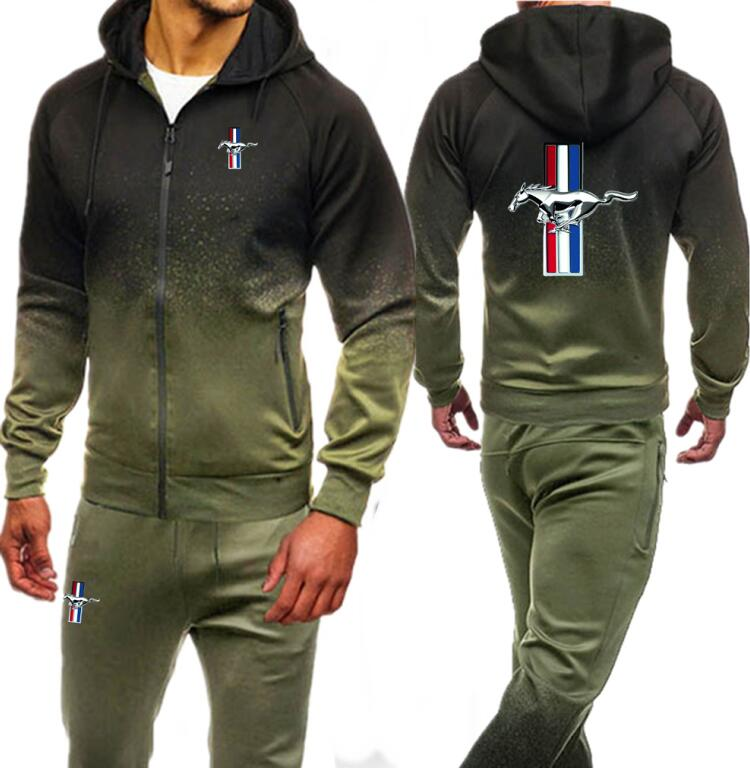 Men Clothing Set Sportswear Autumn Hoodies Zipper Sweatshirts Sporting Sets Ford Mustang Print Men's Tracksuits Hoodies+Pants
