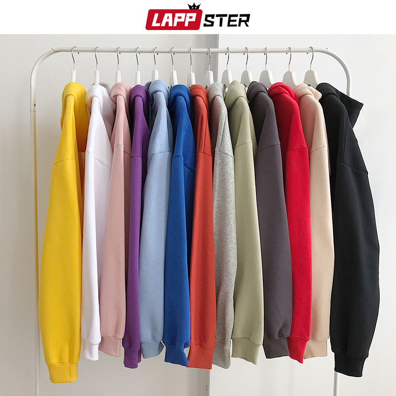 LAPPSTER Men Solid Hooded Hoodies 2020 Autumn Mens Hip Hop Korean Fashions Sweatshirts Casual Hip Hop Couple Hoodie Plus Size