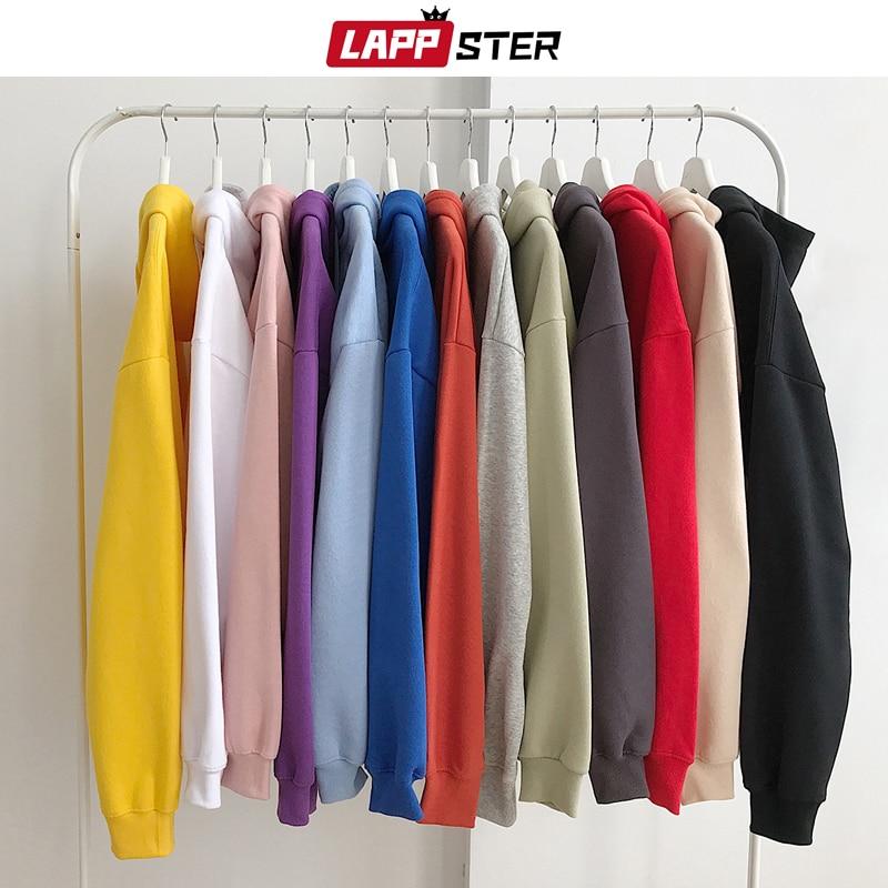 LAPPSTER Men Solid Hooded Hoodies 2020 Autumn Mens Hip Hop Korean Fashions Sweatshirts Casual Hip Hop Couple Hoodie Plus Size