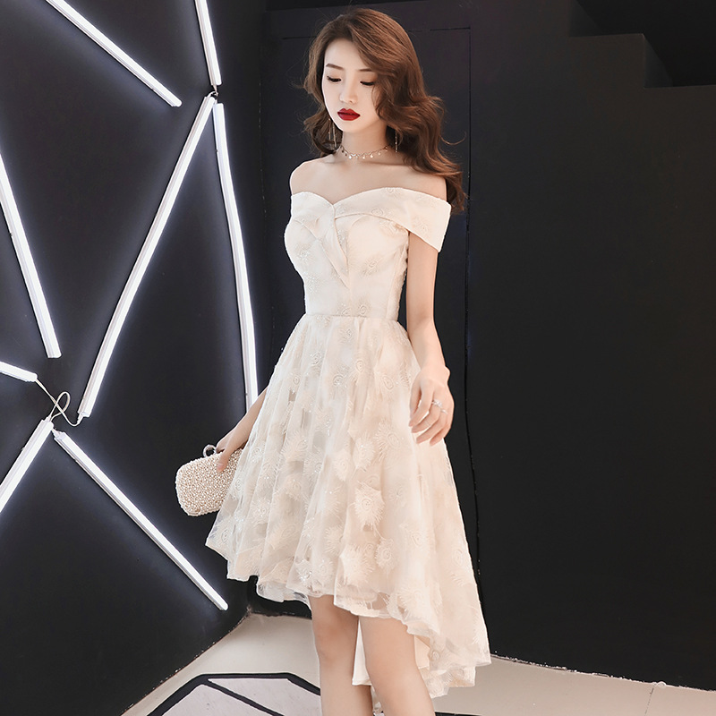 Off-white Evening Gown Women's 2019 Fashion New Style Off-Shoulder Short Debutante Birthday Party Dress