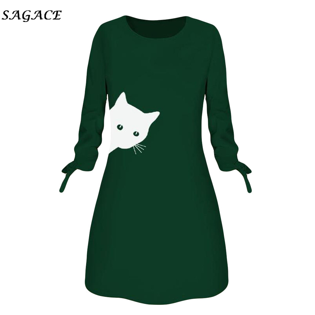 Sagace Clothes Women Sweatshirt Dress Lady Fashion Winter O-Neck Printed Cat Animal Bow O Neck Long Sleeve Blouse Mini Dress