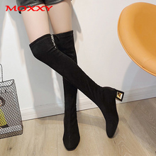 2019 New Over The Knee Boots Female Winter Warm Thigh High Boots Women Shoes Suede Heel Long Boots Ladies Elegant Shoes Woman цена 2017