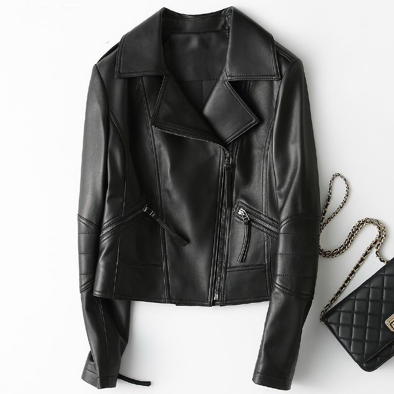 Leather Genuine Jacket Motorcycles Women Short Spring Autumn Womens Sheepskin Coat Real Leather Chaqueta Mujer ZJZ007         S