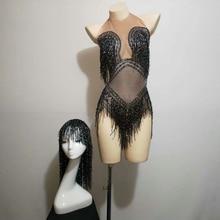 Shining Black Tassel Bodysuit Nigthclub Rhinestones Outfit Glisten stones One piece Headpiece Costume Stage Leotard Headdress