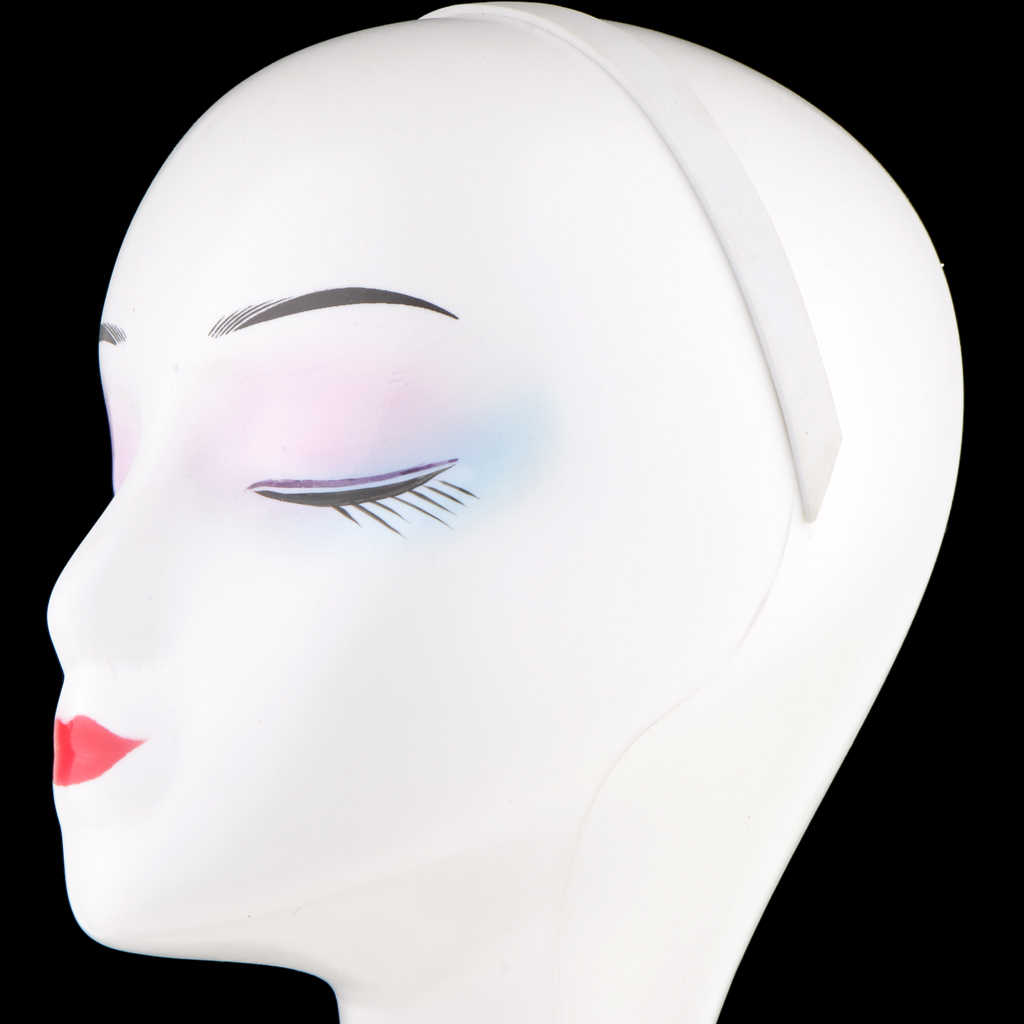 Cabeza de maniquí femenina elegante de cuello largo para pelucas de pelo joyería auriculares sombrero Display-blanco