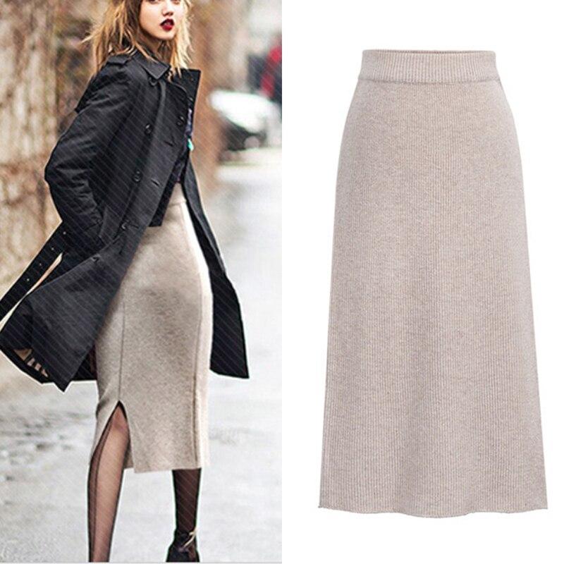 Женская зимняя Плотная юбка, зимняя теплая трикотажная прямая юбка средней длины, эластичная юбка средней длины с высокой талией и