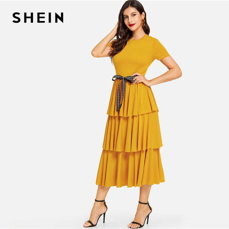 SHEIN элегантное контрастное платье с поясом, многослойное, с оборками, с высокой талией, длинное платье для женщин, летнее, однотонное, офисное, женское, ТРАПЕЦИЕВИДНОЕ, вечернее платье