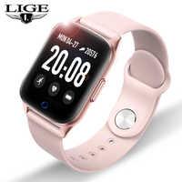 LIGE Nuova Smart Donne Della Vigilanza Dello Schermo OLED Frequenza Cardiaca Monitor di Pressione Sanguigna di IP67 Impermeabile Sport Smartwatch Sostituibile Strap + Box