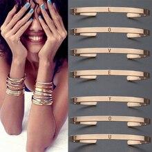 Letters Bangle Metal Bracelets Lettering Bracelet Bar Jewelry Engraved Cuff A TO Z Bracelets